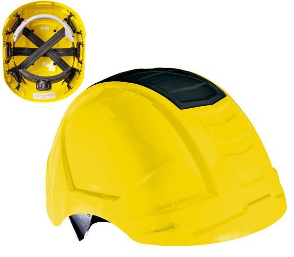 Bauhelm 6-Punkt Crashbox gelb