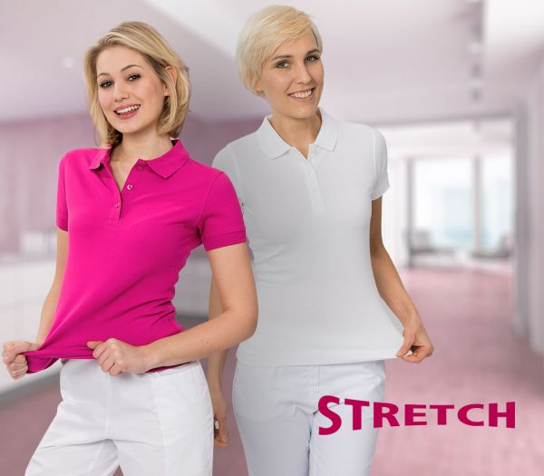 Damen Polo-Shirt STRETCH weiß