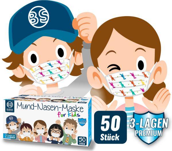 Mund-Nasen-Maske Kinder 50er Pack bunt