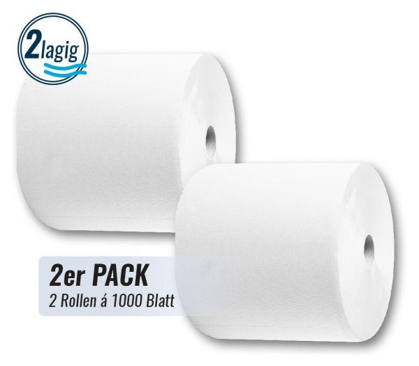 Putztuchrolle 2-lagig, 2er Pack weiß
