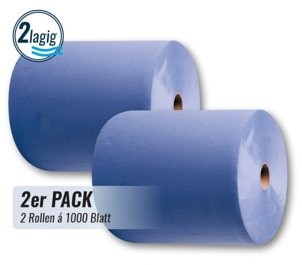 Putztuchrolle 2-lagig, 2er Pack blau