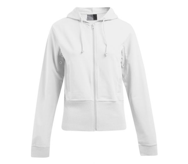 Damen Kapuzen-Sweatjacke STRETCH weiß