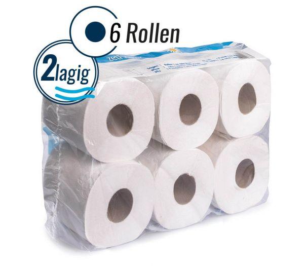 Toilettenpapier 2-lagig, 6 Rollen weiß