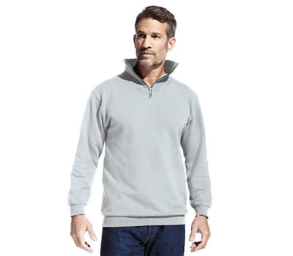 Sweatshirt mit Reißverschluss hellgrau meliert