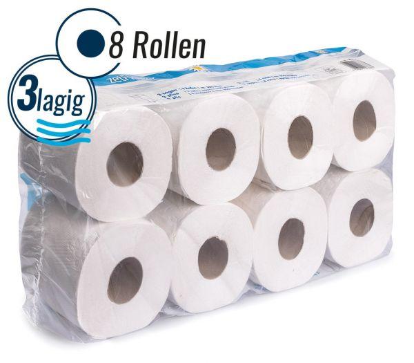Toilettenpapier 3-lagig, 8 Rollen weiß