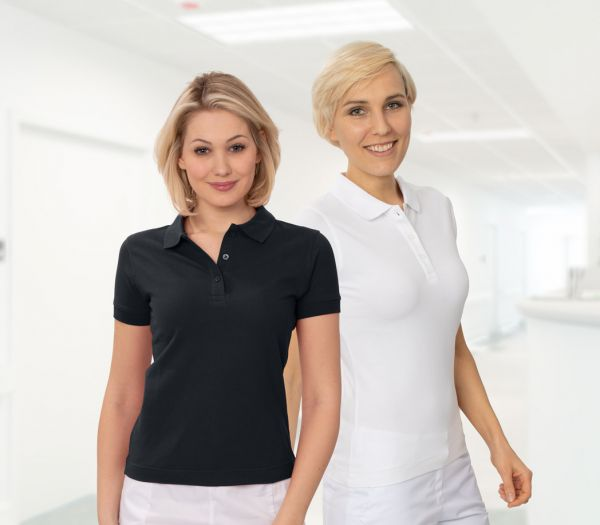 Damen Polo-Shirt Mischgewebe weiß