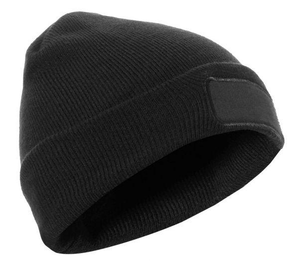 Strickmütze bedruckbar schwarz