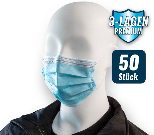 Mund-Nasen-Maske 3-lagig 50er Pack weiß
