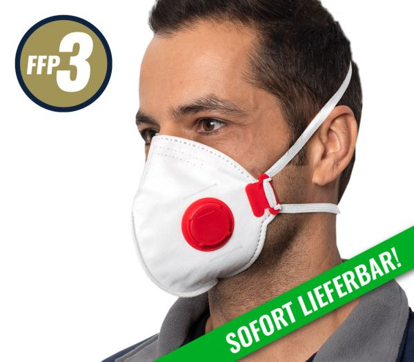Atemschutzmaske -faltbar- FFP3, mit Ventil weiß