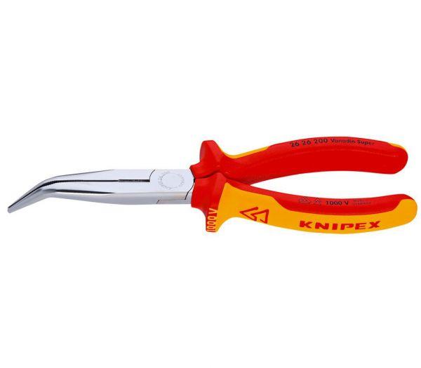 Knipex VDE-Flachrundzange mit Schneide, gebogen