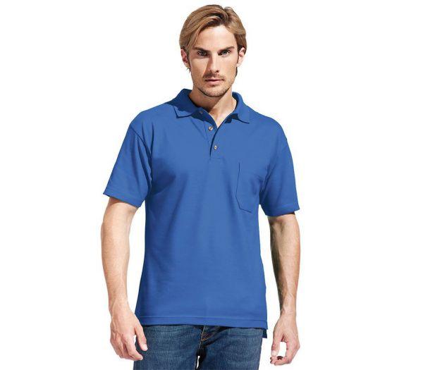 Poloshirt Premium mit Brusttasche kornblau