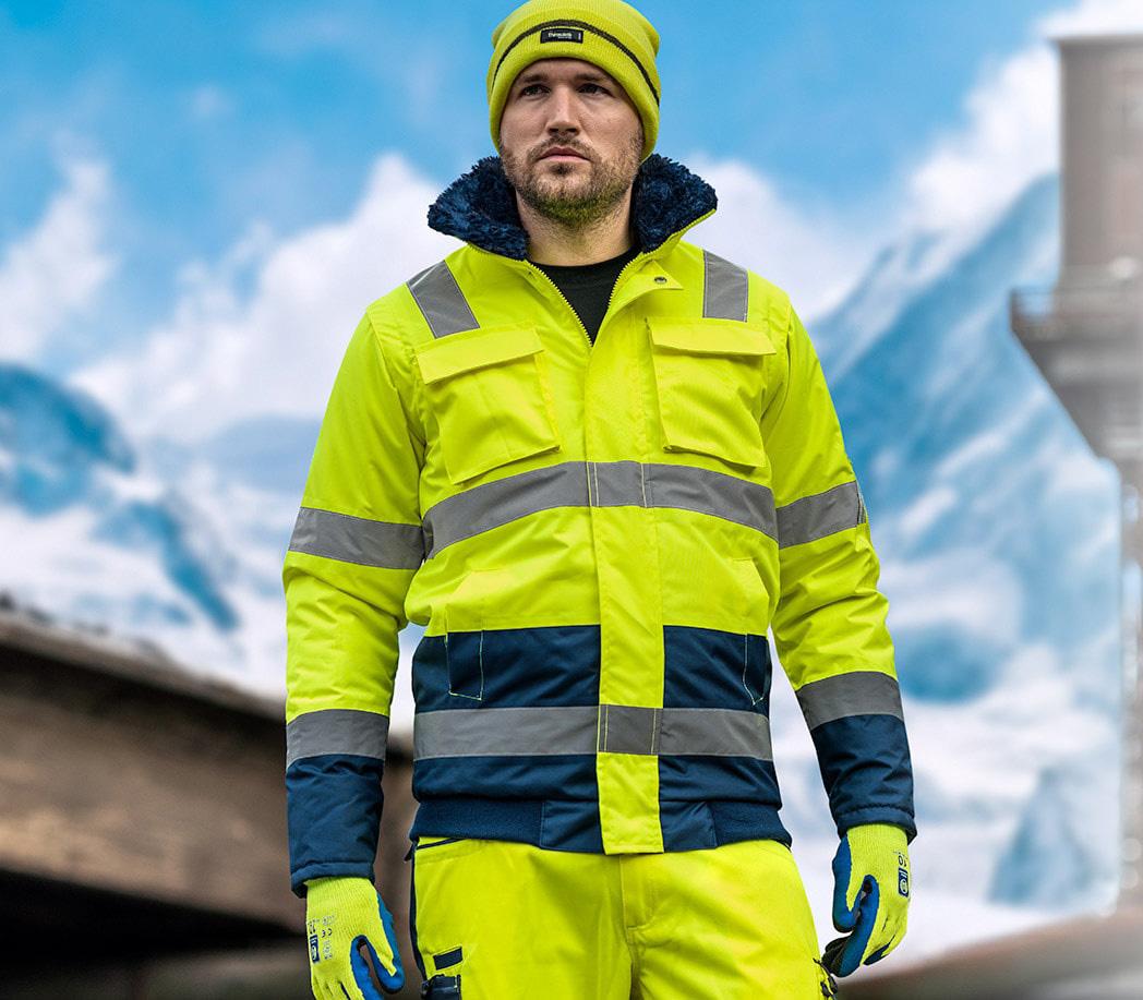 Sicherheitsjacke Warnschutz Warnjacke Jacke Arbeitsjacke Signalfarbe Gelb Winter