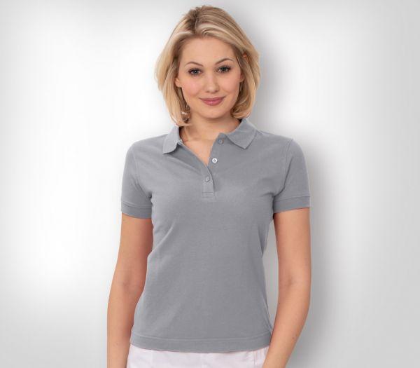 Damen Polo-Shirt Mischgewebe hellgrau meliert