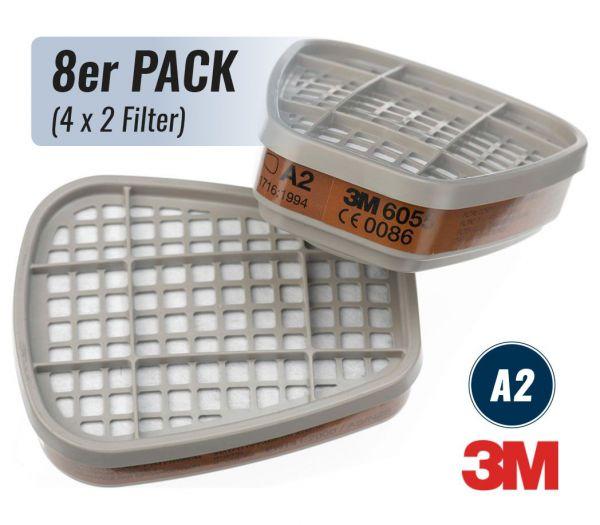 3M Filterpatrone A2, 8er Pack grau