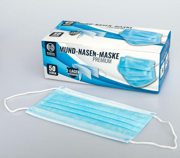 Mund-Nasen-Maske Premium, 50er Pack blau