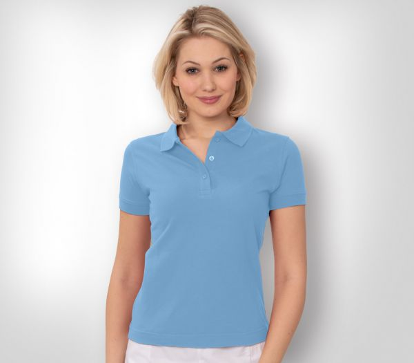 Damen Polo-Shirt Mischgewebe hellblau